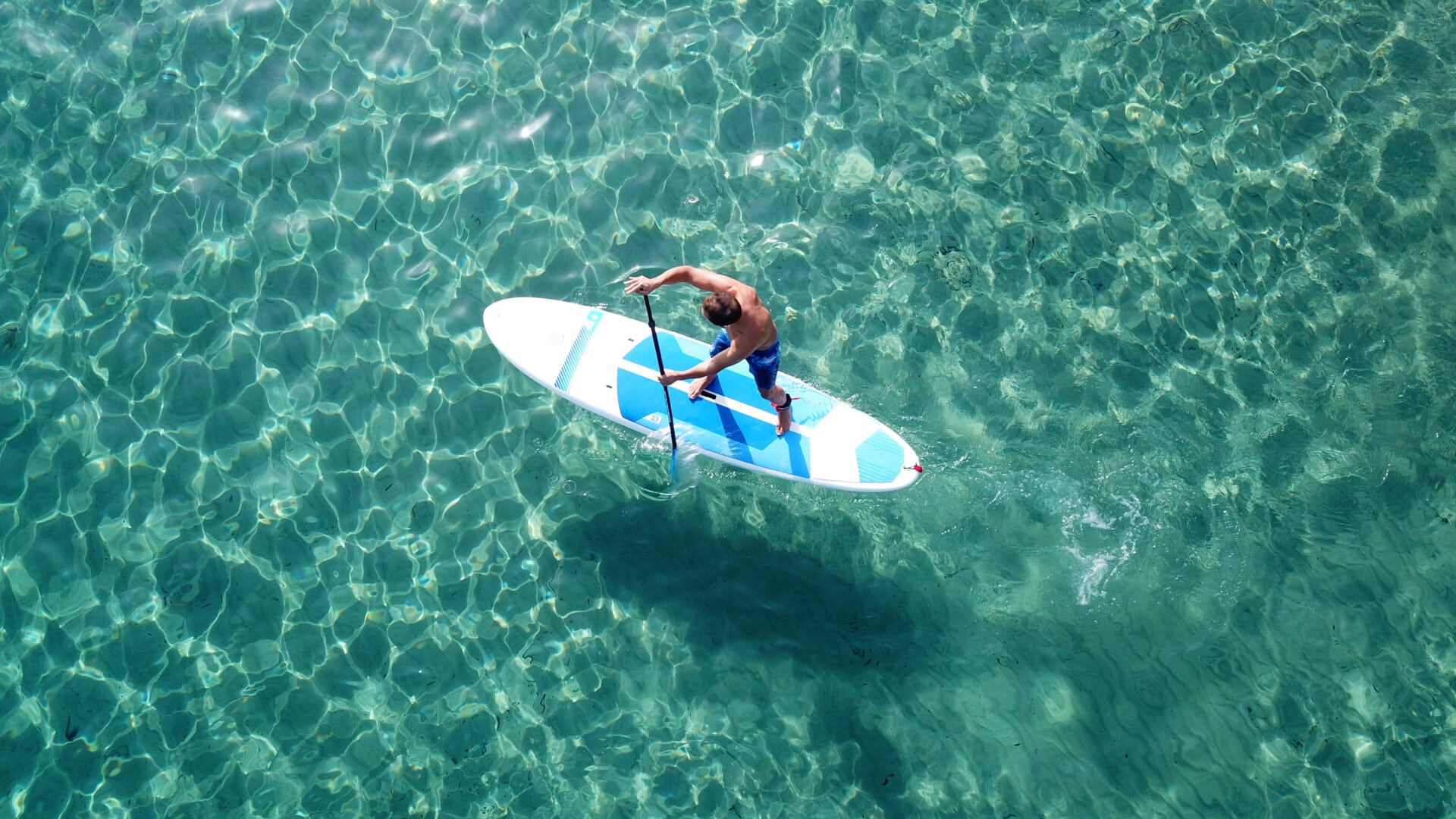 Aerial,Photo,Of,Unidentified,Man,Practicing,Stand,Up,Paddle,Board